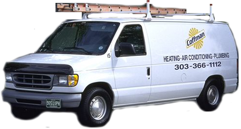 A Coffman & Company truck at a Plumbing repair service in Aurora, CO.